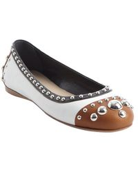 Prada Back and Brown and White Meal Studded Cap Toe Flats - Lyst