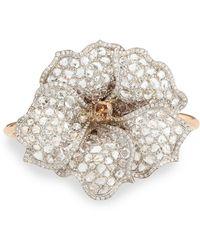 Nina Runsdorf - White And Cognac Diamond Flower Cuff Bracelet - Lyst