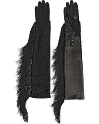 Lanvin Fran Fringed Jersey And Leather Gloves - Black