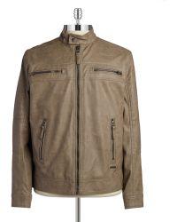 Calvin Klein Weather-Proof Moto Jacket khaki - Lyst