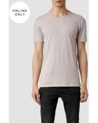 AllSaints Figure Crew T-Shirt gray - Lyst