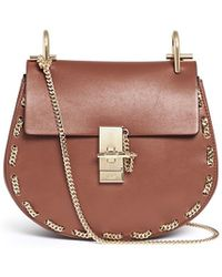 Chloé 'Drew' Small Chain Border Leather Shoulder Bag brown - Lyst