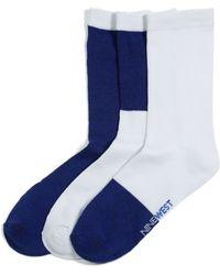 Nine West Color Block Crew Socks 3 Pack - Blue