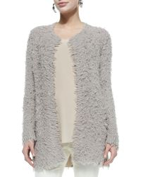 Eileen Fisher Shaggy Long Cardigan - Lyst