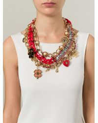 Tory Burch Embellished Charm Bib Necklace - Lyst