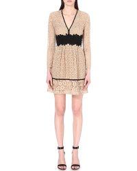 Burberry Prorsum Empire Line Patchwork Lace Dress - Natural