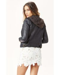 Doma Leather Biker Jacket with Hood - Lyst
