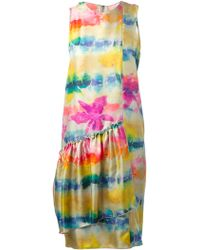 Hache Abstract Print Pleated Panel Dress - Lyst