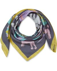 Karen Mabon Grey Prize Poodle Silk Scarf