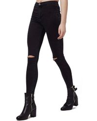 Topshop | Moto 'joni' Ripped High Rise Skinny Jeans | Lyst