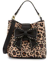 Betsey Johnson Studbow Leopardprint Bucket Bag - Lyst
