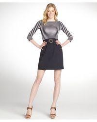 Burberry Navy Blue Breton Stripe Three Quarter Sleeve Belted Dress - Lyst
