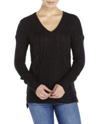 Pink Rose - V-Neck Cable Sweater - Lyst