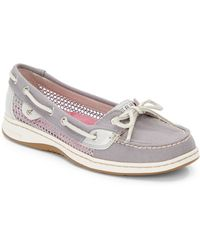Sperry Angelfish Metallic Leather  Mesh Boat Shoes - Lyst