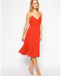 Asos Cami Pleated Midi Dress - Lyst