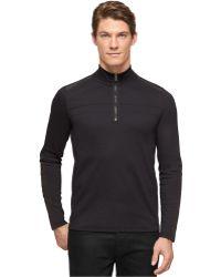 Calvin Klein Black Quarter-Zip Pullover - Lyst