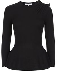 Carolina Herrera Bow Shoulder Sweater - Lyst