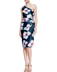 Carolina Herrera Oneshoulder Back Bow Dress Navyivorypink - Lyst