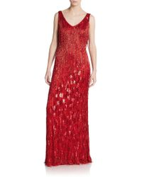 Theia Beaded Fringe Gown - Lyst