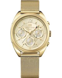 Tommy Hilfiger Women'S Gold Ion-Plated Stainless Steel Mesh Bracelet Watch 38Mm 1781488 - Lyst