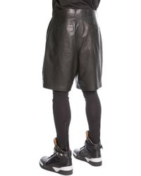 Givenchy Pleated Leather Shorts Black - Lyst
