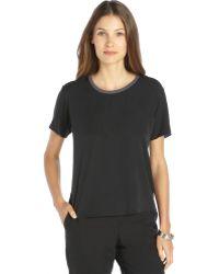 Theyskens' Theory Black Silk Stretch Short Sleeve Blouse - Lyst