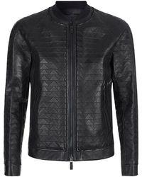 Giorgio Armani | Tonal Zig-zag Leather Bomber Jacket | Lyst