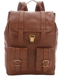 Proenza Schouler Saddle Brown Leather 'Ps 1' Buckle Detail Backpack - Lyst