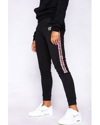 11 Degrees Branded Taped Wide Leg Joggers - Black