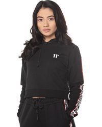 11 Degrees Branded Taped Cropped Pullover Hoodie - Black