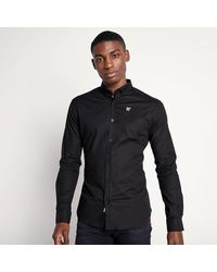 11 Degrees Long Sleeve Contrast Logo Shirt - Black