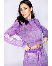 11 Degrees Cropped Acid Wash Pullover Hoodie - Purple