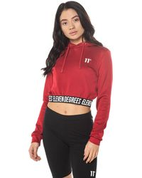 11 Degrees Cropped Taped Pullover Hoodie - Red