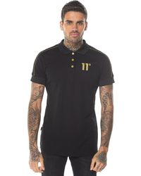 11 Degrees Panelled Polo With Piping - Black