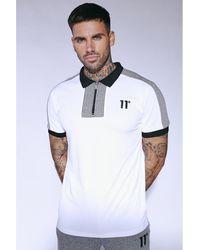 11 Degrees Cut And Sew Pique Polo Shirt - White
