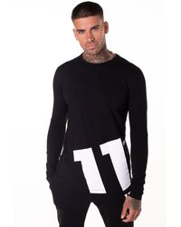 11 Degrees Odin Long Sleeve Logo Top - Black