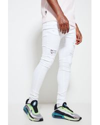 11 Degrees Rip And Repair Jeans Skinny Fit Size: W32 L30 - White