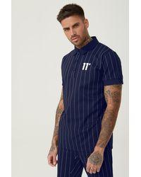 11 Degrees Stripe Polo Shirt - Blue