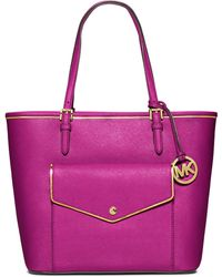 Michael by Michael Kors Jet Set Leather Large Pocket Tote Bag - Lyst
