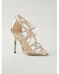Jimmy Choo Gold 'Layla' Sandals - Lyst