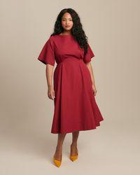 Derek Lam - Short Sleeve Midi Dress With Cut-out Back - Lyst