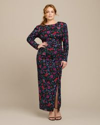 Veronica Beard Selena Floral-print Stretch-silk Midi Dress - Black