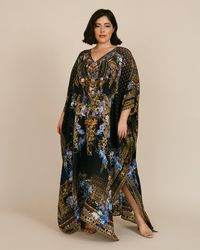 Camilla Long Kaftan With Buttons - Black