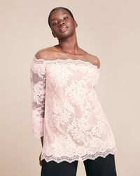 Marchesa Corded Lace Top - Pink