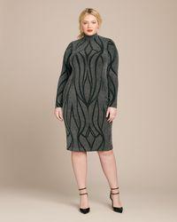Christian Siriano Interstellar Silver Mock Neck Mid Length Dress - Metallic