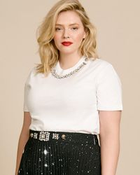 Christopher Kane Crystal Necklace T-shirt - White