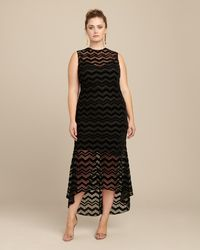 Christian Siriano Zig Zag Velvet Dress - Black