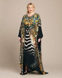 Camilla Split Hem Lace Up Kaftan - Multicolor