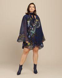 Camilla Short Dress With Yoke - Blue