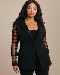 Christian Siriano Floral Sequin Single Button Blazer - Black